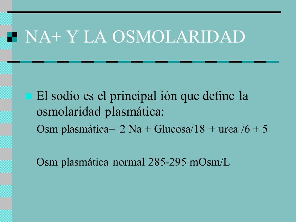 NA+ Y LA OSMOLARIDAD El sodio es el principal ión que define la osmolaridad plasmática: Osm plasmática= 2 Na + Glucosa/18 + urea /6 + 5.