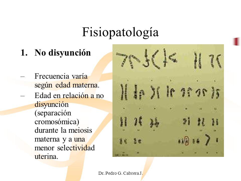 Fisiopatología No disyunción Frecuencia varía según edad materna.
