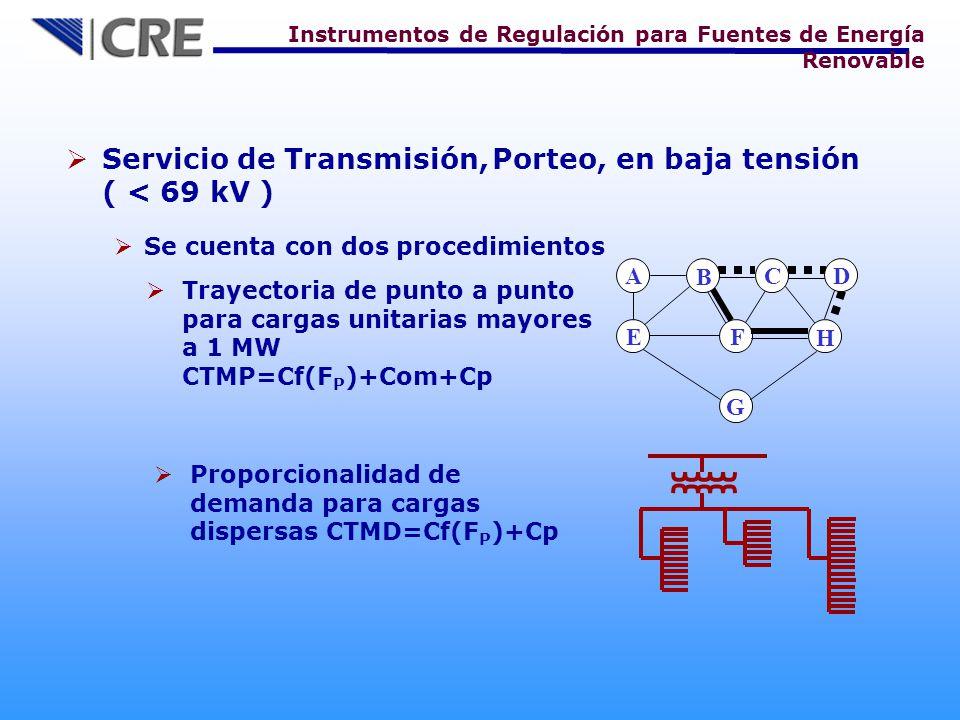 Servicio de Transmisión, Porteo, en baja tensión ( < 69 kV )