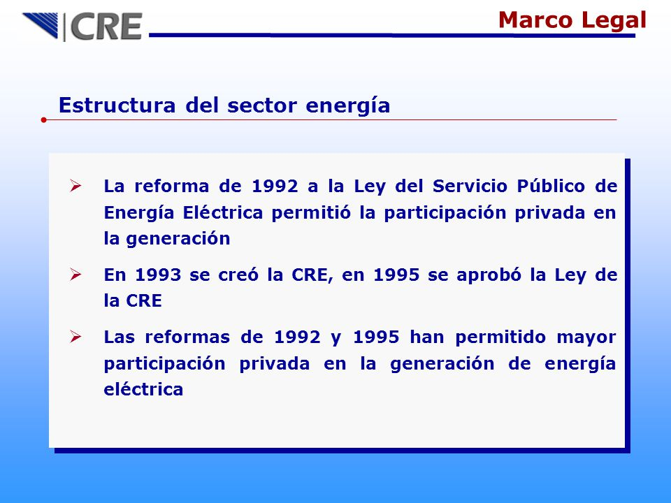 Marco Legal Estructura del sector energía