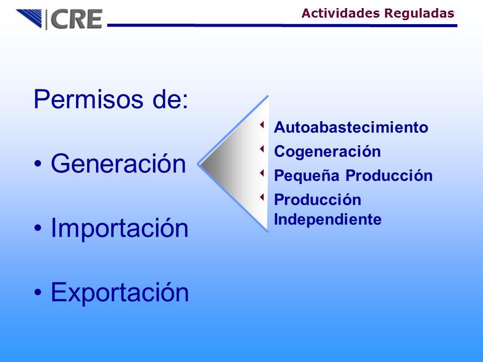 Permisos de: Generación Importación Exportación Autoabastecimiento