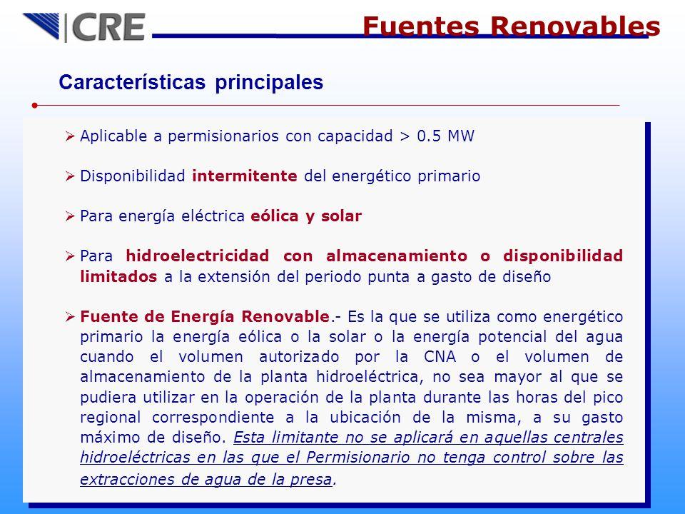 Fuentes Renovables Características principales