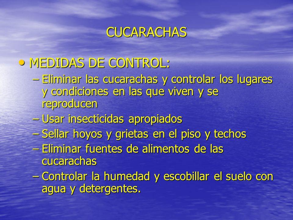 CUCARACHAS MEDIDAS DE CONTROL: