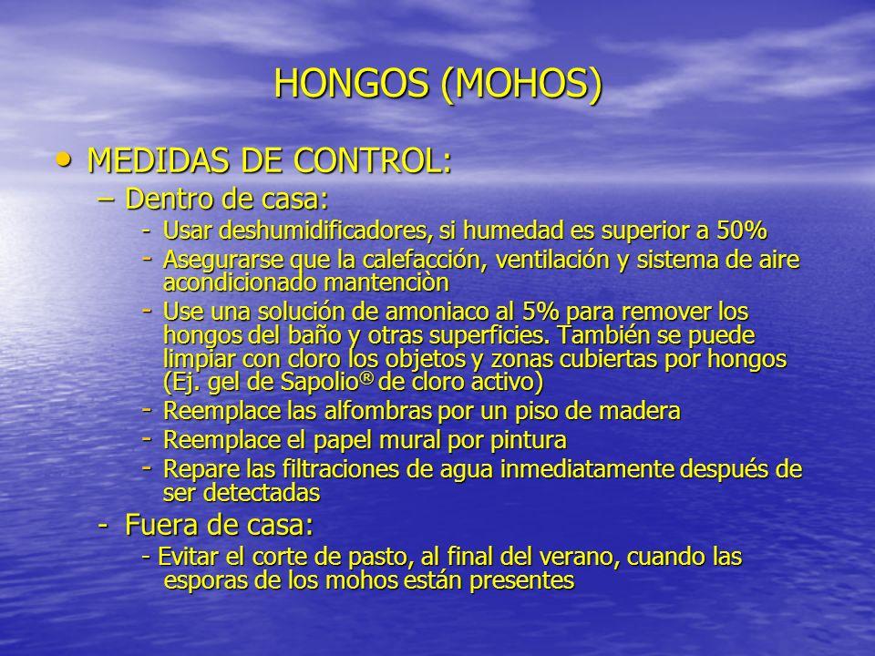 HONGOS (MOHOS) MEDIDAS DE CONTROL: Dentro de casa: Fuera de casa: