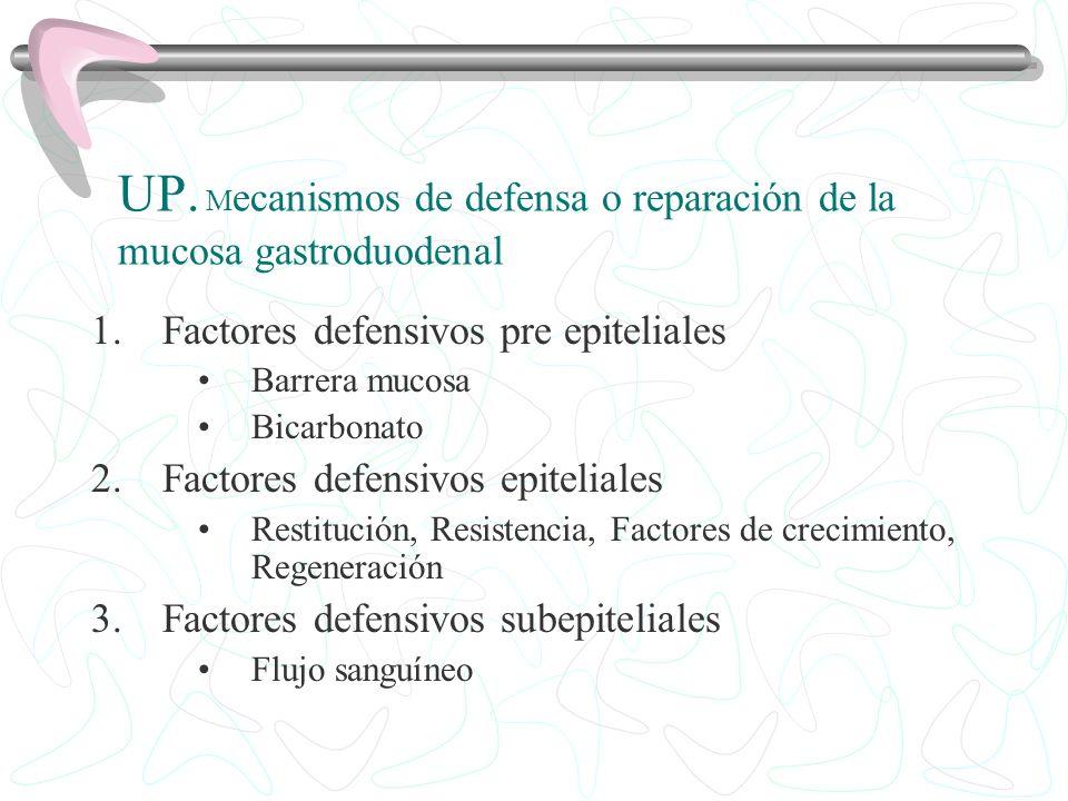 UP. Mecanismos de defensa o reparación de la mucosa gastroduodenal