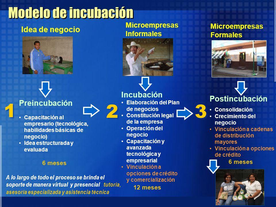 1 2 3 Modelo de incubación Idea de negocio Incubación Postincubación