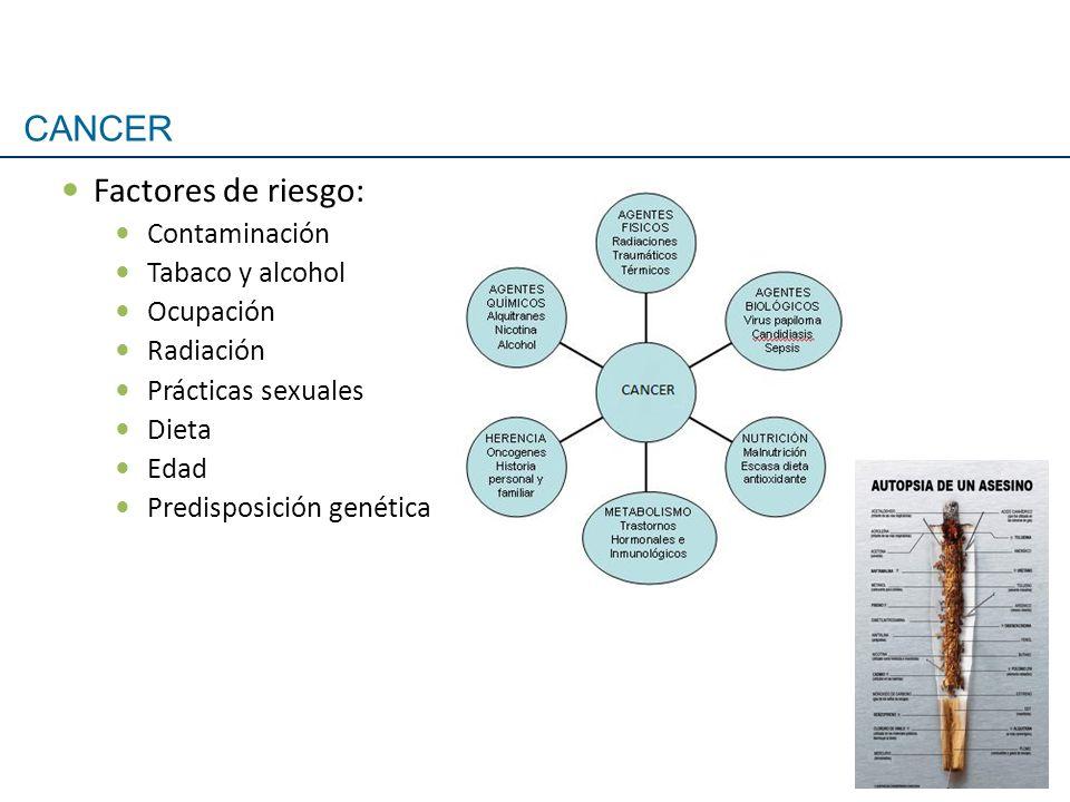 CANCER Factores de riesgo: Contaminación Tabaco y alcohol Ocupación