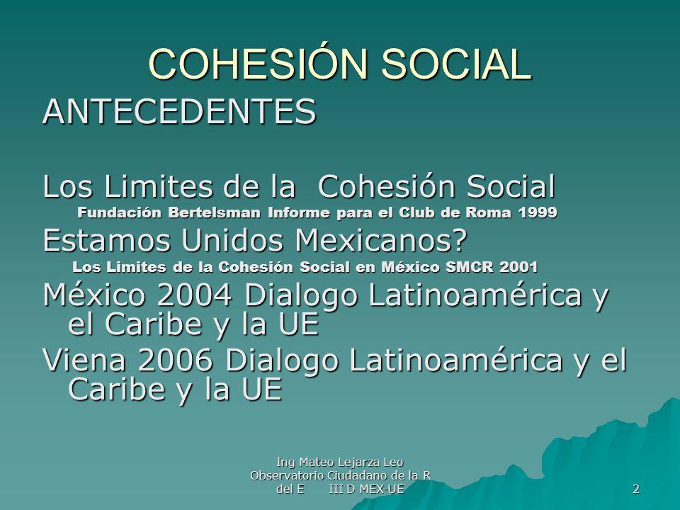 COHESIÓN SOCIAL ANTECEDENTES Los Limites de la Cohesión Social