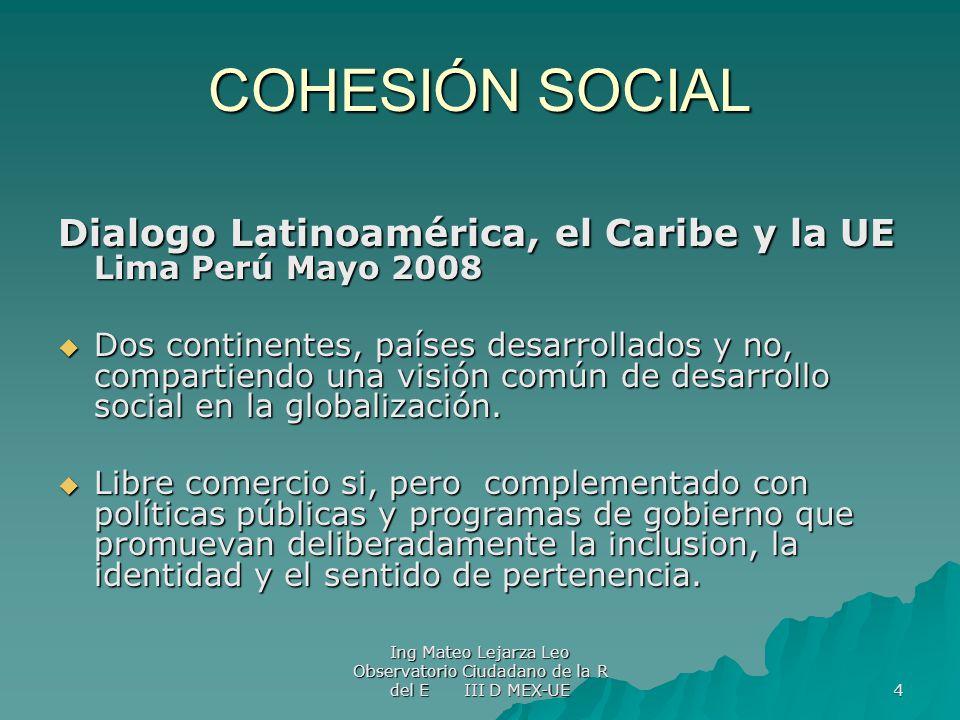 COHESIÓN SOCIAL Dialogo Latinoamérica, el Caribe y la UE Lima Perú Mayo 2008.