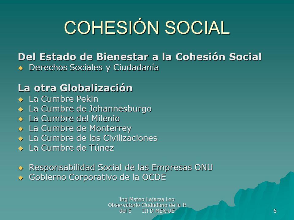 COHESIÓN SOCIAL Del Estado de Bienestar a la Cohesión Social