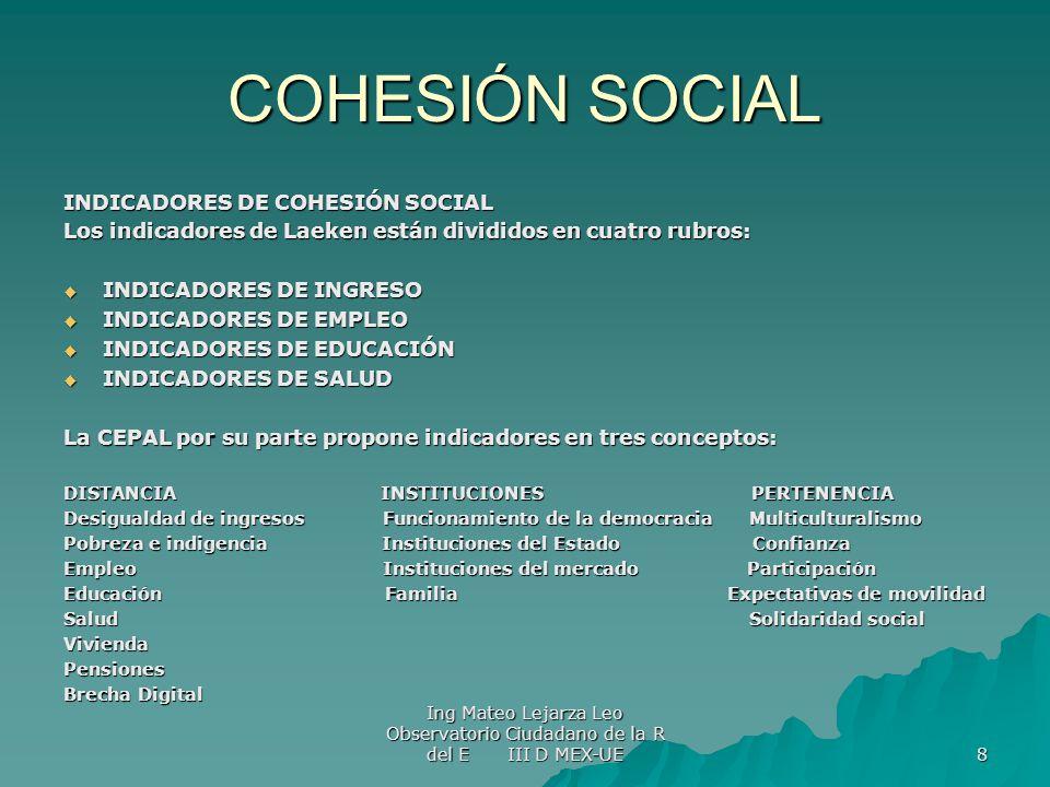 COHESIÓN SOCIAL INDICADORES DE COHESIÓN SOCIAL