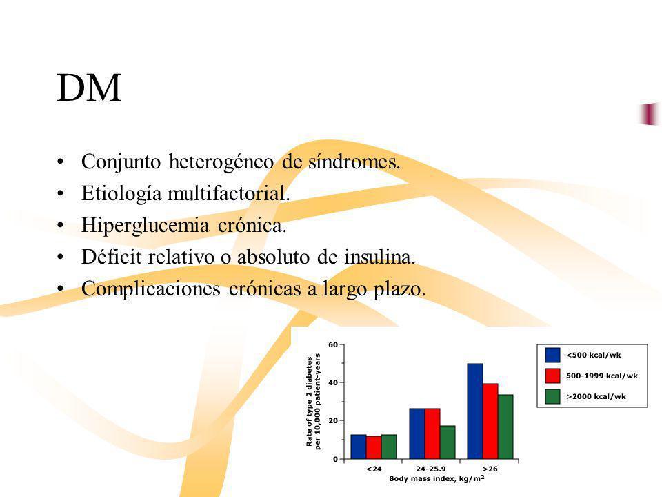 DM Conjunto heterogéneo de síndromes. Etiología multifactorial.