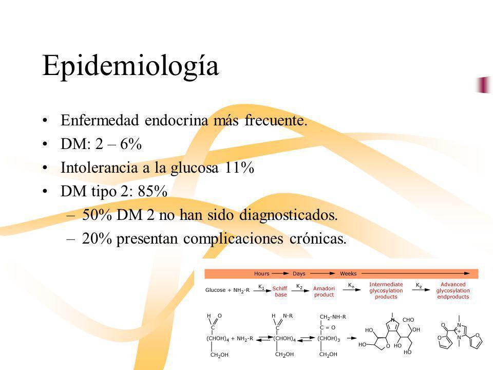 Epidemiología Enfermedad endocrina más frecuente. DM: 2 – 6%