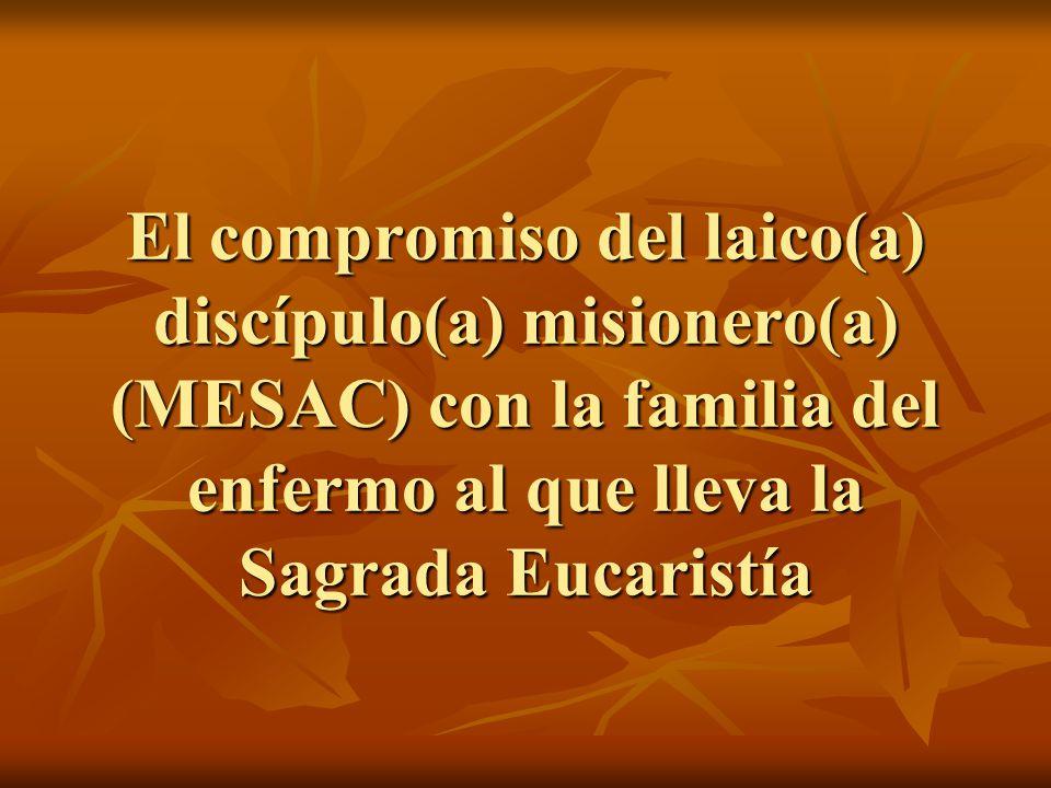 El compromiso del laico(a) discípulo(a) misionero(a) (MESAC) con la familia del enfermo al que lleva la Sagrada Eucaristía