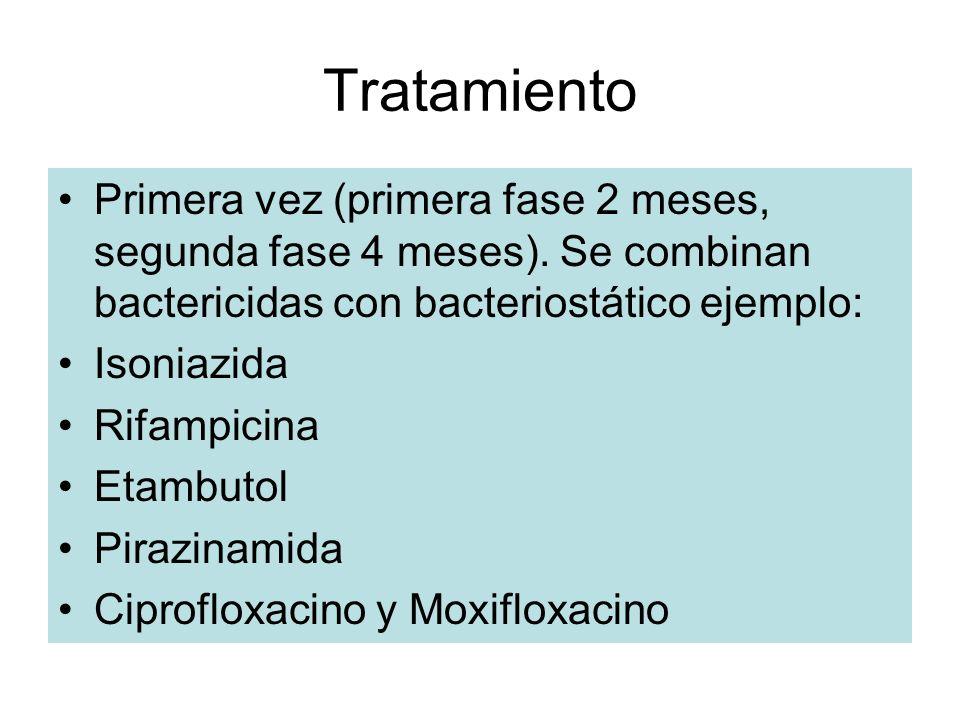 Tratamiento Primera vez (primera fase 2 meses, segunda fase 4 meses). Se combinan bactericidas con bacteriostático ejemplo: