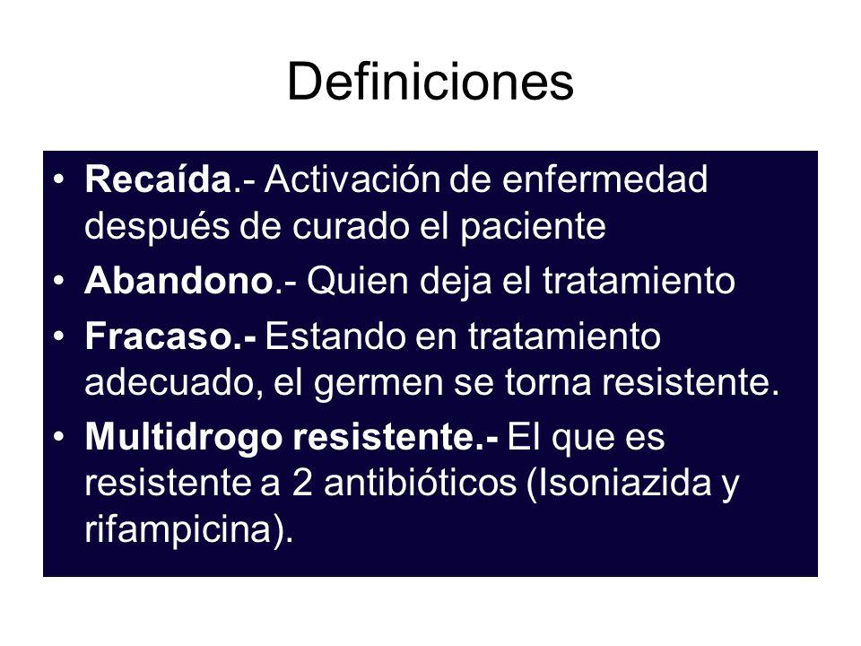 Definiciones Recaída.- Activación de enfermedad después de curado el paciente. Abandono.- Quien deja el tratamiento.