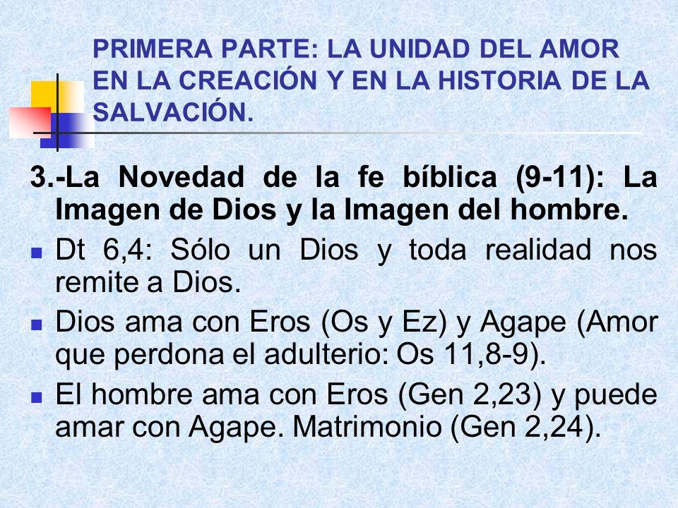 Dt 6,4: Sólo un Dios y toda realidad nos remite a Dios.