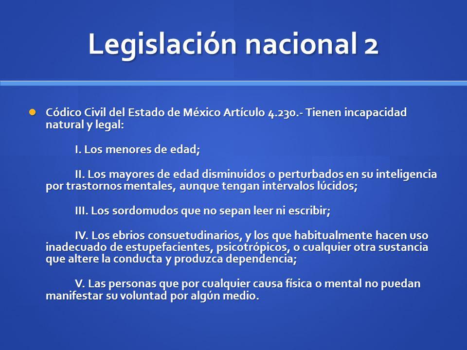 Legislación nacional 2 Códico Civil del Estado de México Artículo 4.230.- Tienen incapacidad natural y legal: