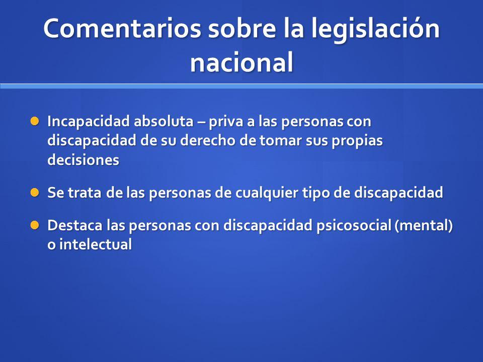 Comentarios sobre la legislación nacional