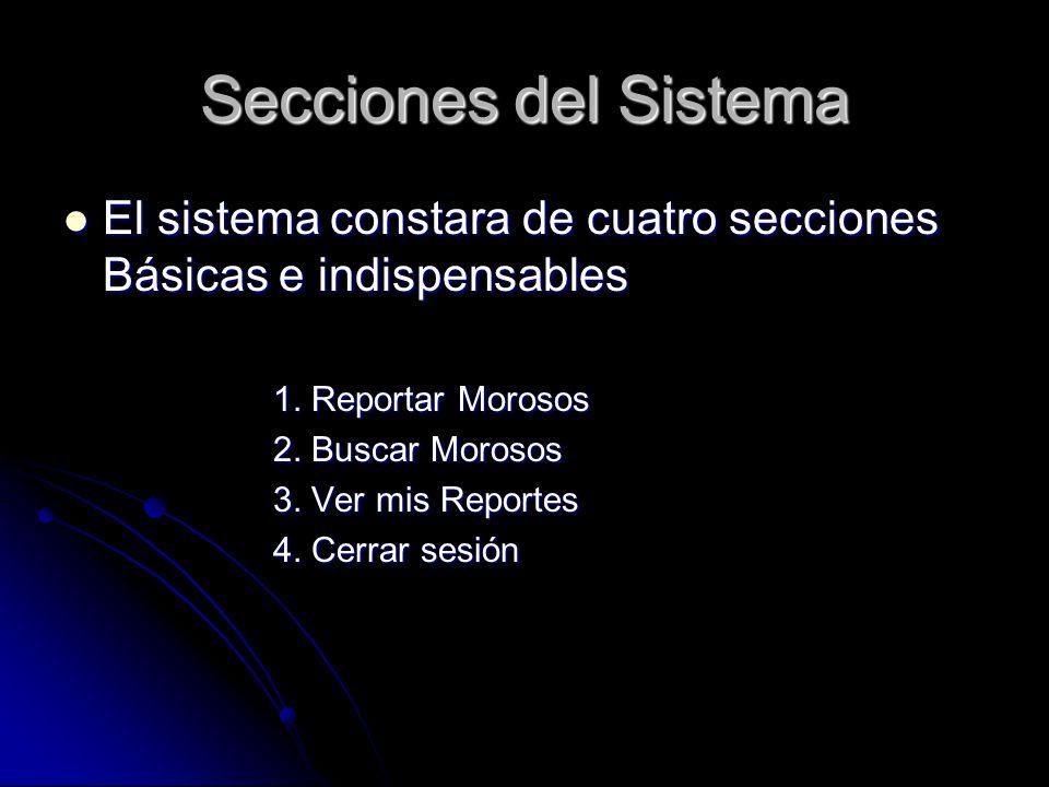 Secciones del Sistema El sistema constara de cuatro secciones Básicas e indispensables. 1. Reportar Morosos.