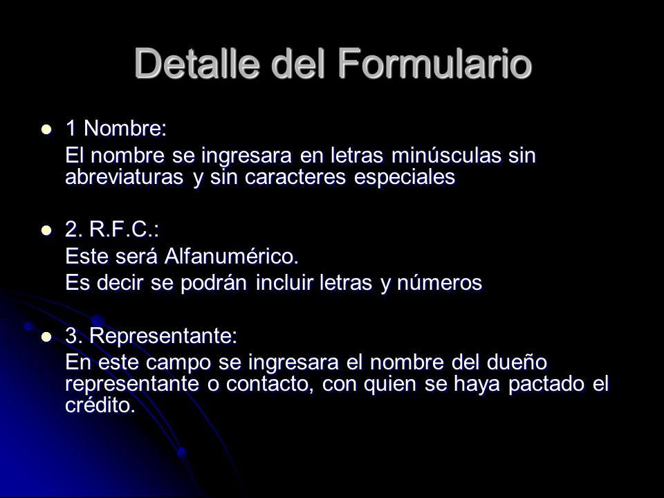 Detalle del Formulario