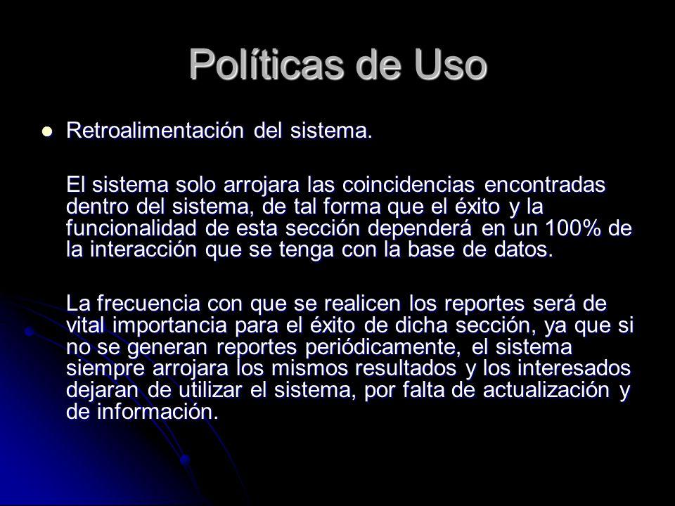 Políticas de Uso Retroalimentación del sistema.