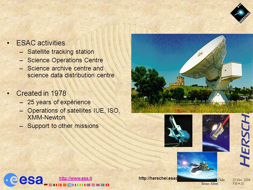 ESAC activities Created in 1978 Satellite tracking station