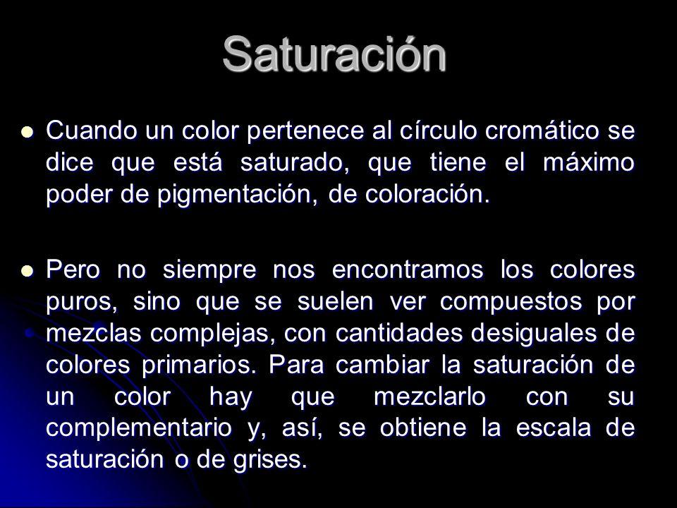 Saturación Cuando un color pertenece al círculo cromático se dice que está saturado, que tiene el máximo poder de pigmentación, de coloración.