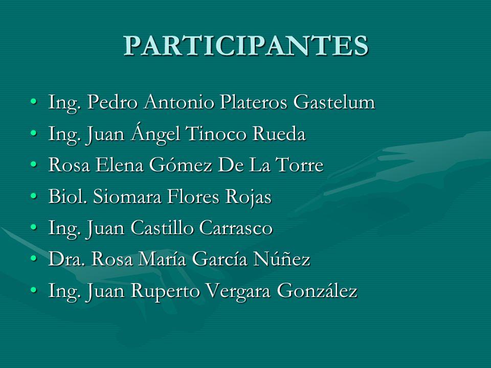 PARTICIPANTES Ing. Pedro Antonio Plateros Gastelum