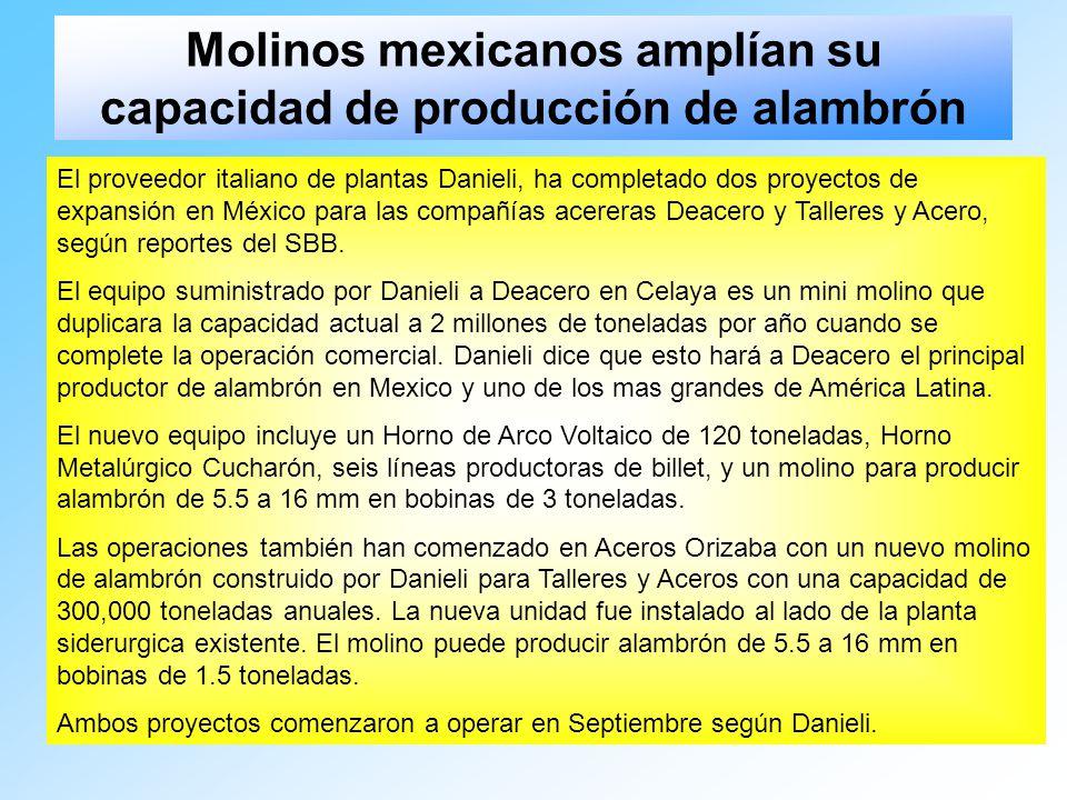 Molinos mexicanos amplían su capacidad de producción de alambrón