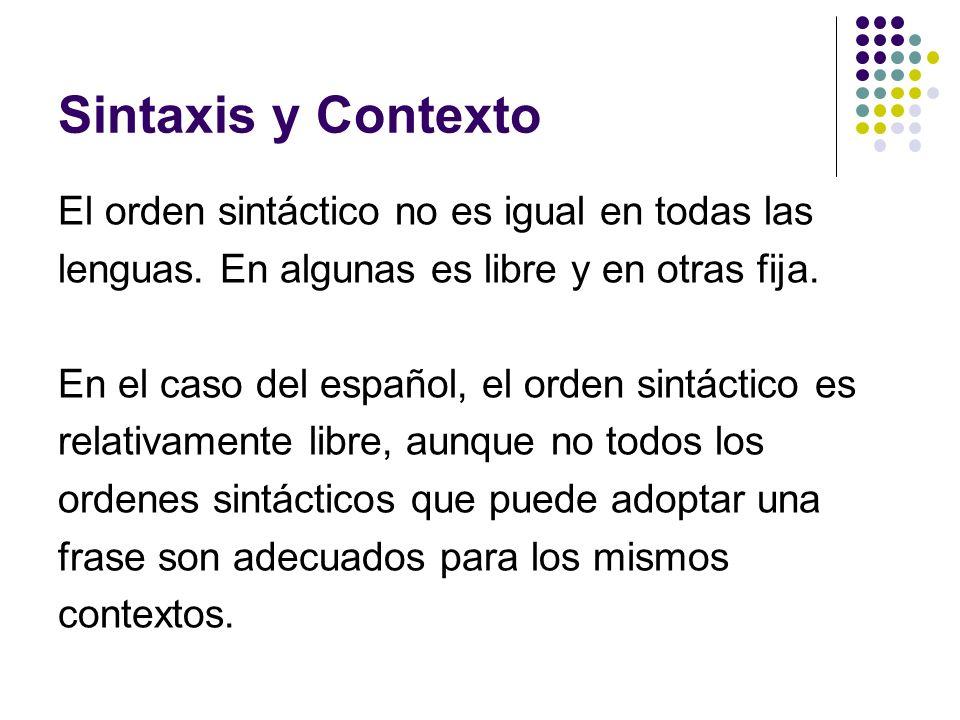 Sintaxis y Contexto El orden sintáctico no es igual en todas las