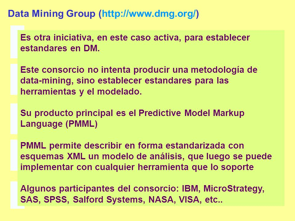 Data Mining Group (http://www.dmg.org/)