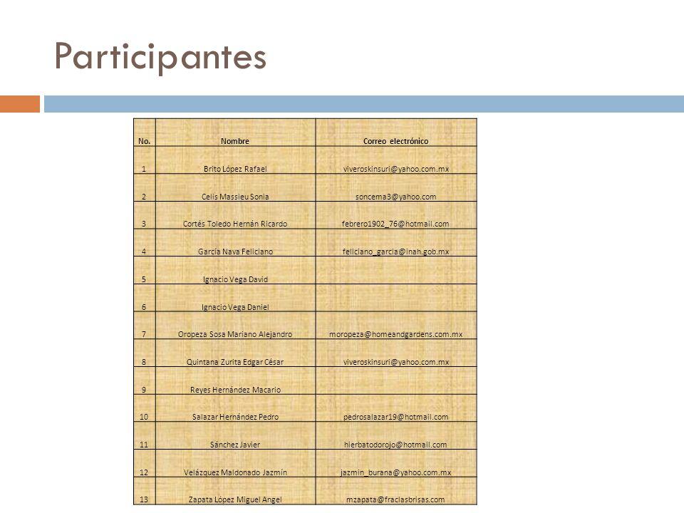 Participantes No. Nombre Correo electrónico 1 Brito López Rafael