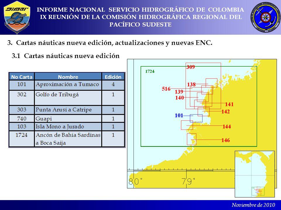 3. Cartas náuticas nueva edición, actualizaciones y nuevas ENC.