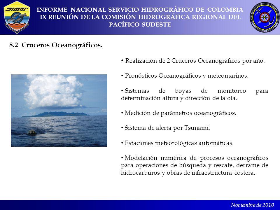 8.2 Cruceros Oceanográficos.