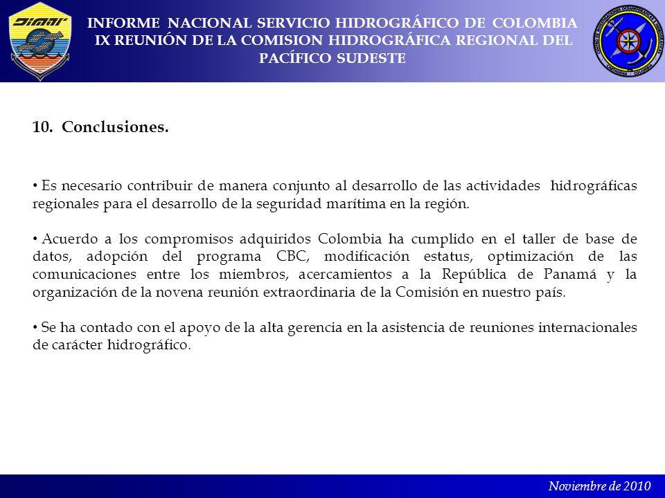 10. Conclusiones. INFORME NACIONAL SERVICIO HIDROGRÁFICO DE COLOMBIA