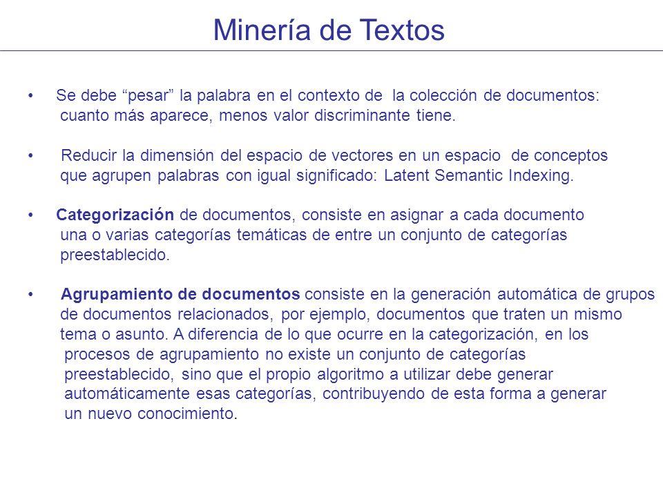 Minería de Textos Se debe pesar la palabra en el contexto de la colección de documentos: cuanto más aparece, menos valor discriminante tiene.