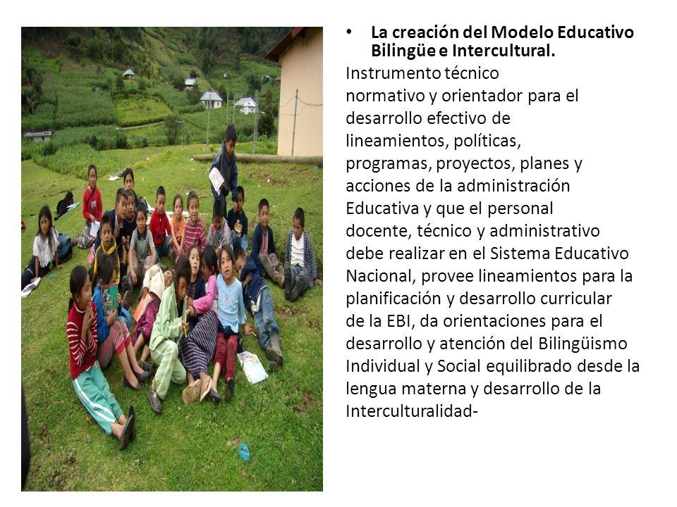 La creación del Modelo Educativo Bilingüe e Intercultural.
