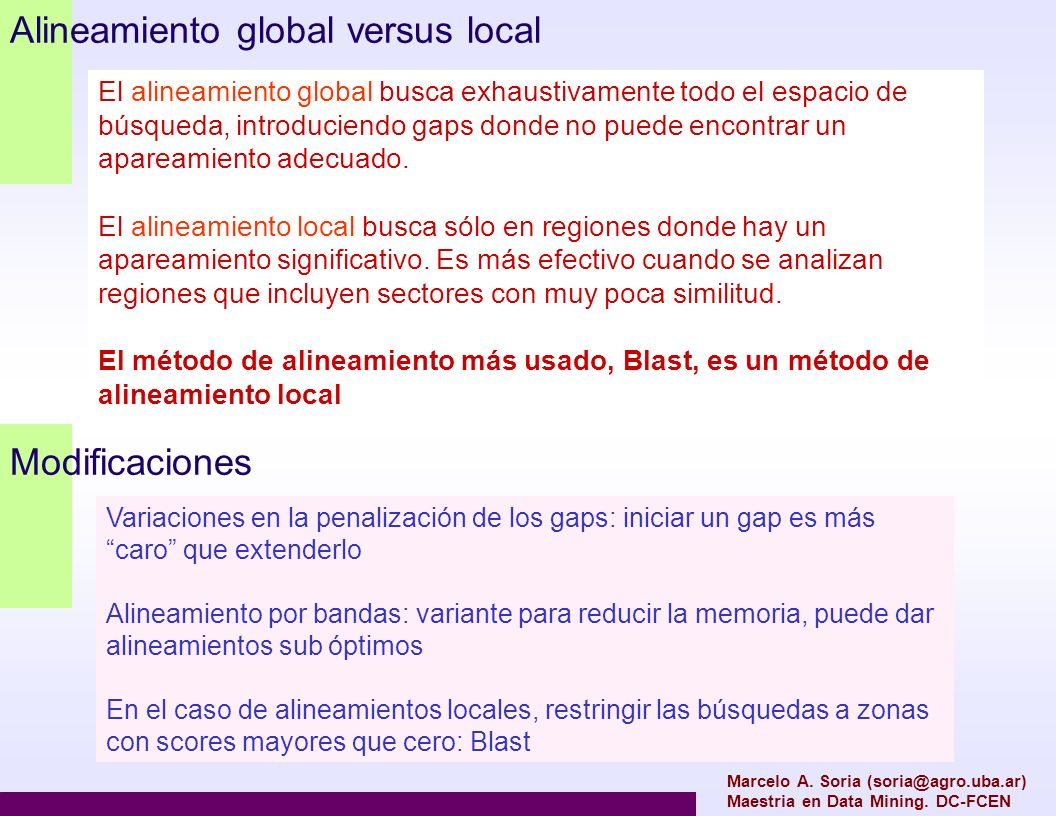 Alineamiento global versus local