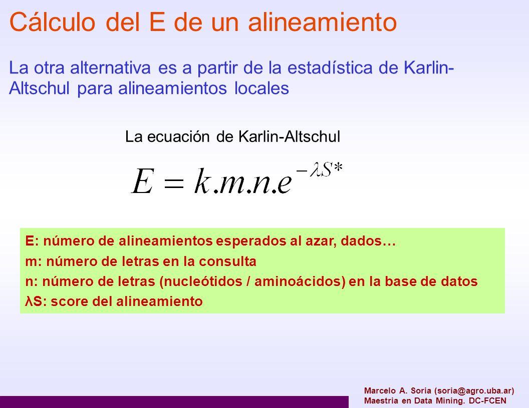 Cálculo del E de un alineamiento