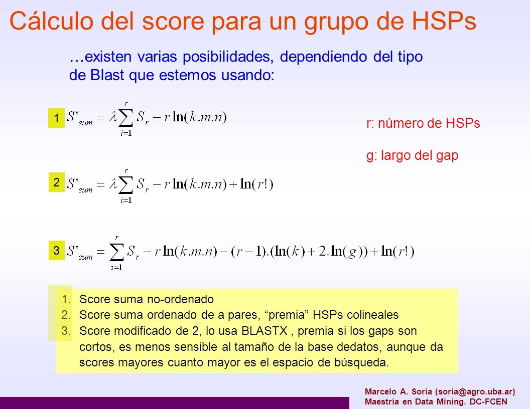 Cálculo del score para un grupo de HSPs