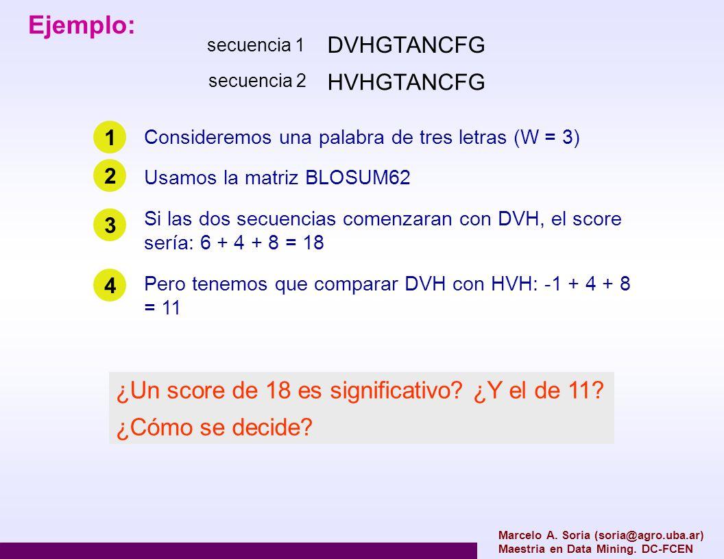 Ejemplo: ¿Un score de 18 es significativo ¿Y el de 11