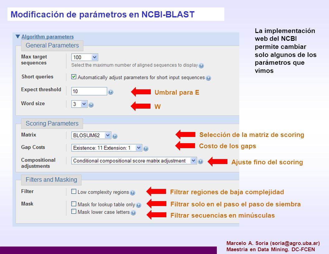 Modificación de parámetros en NCBI-BLAST