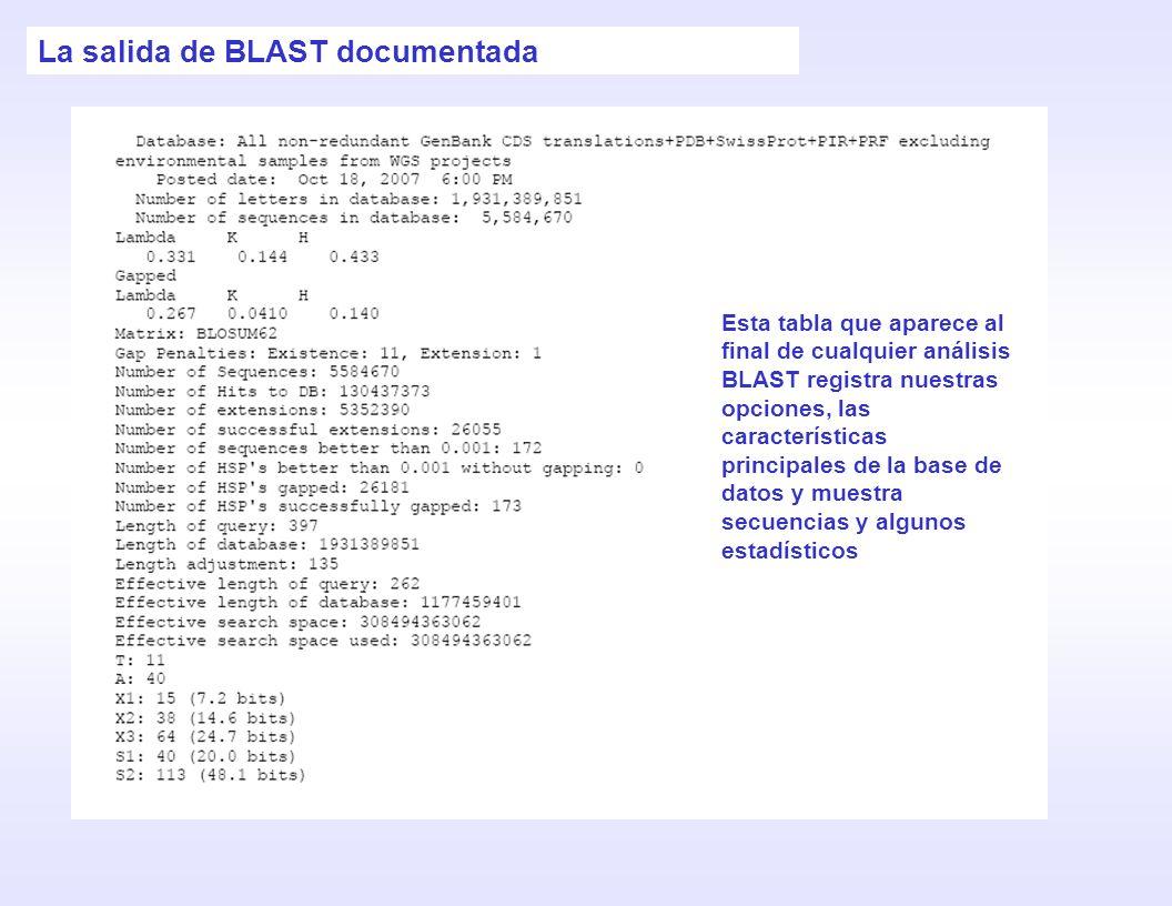 La salida de BLAST documentada