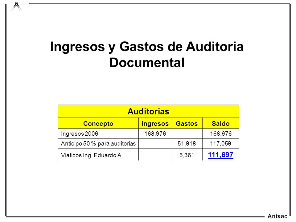 Ingresos y Gastos de Auditoria Documental