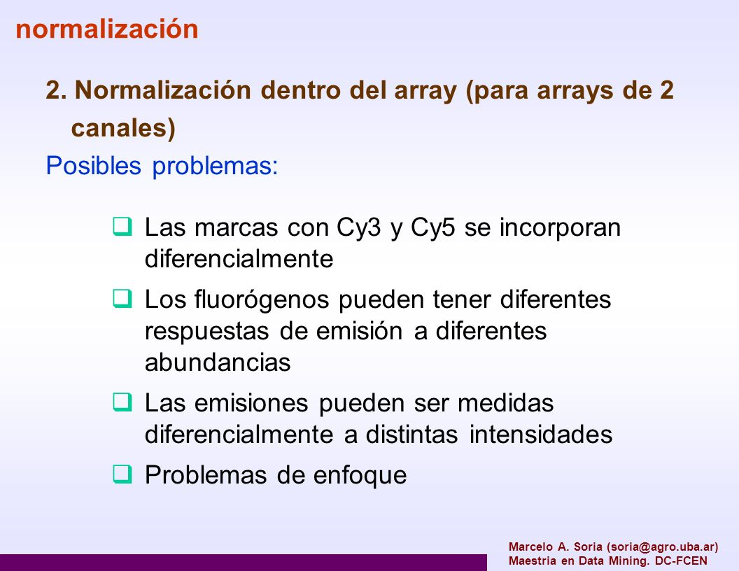 normalización 2. Normalización dentro del array (para arrays de 2 canales) Posibles problemas: