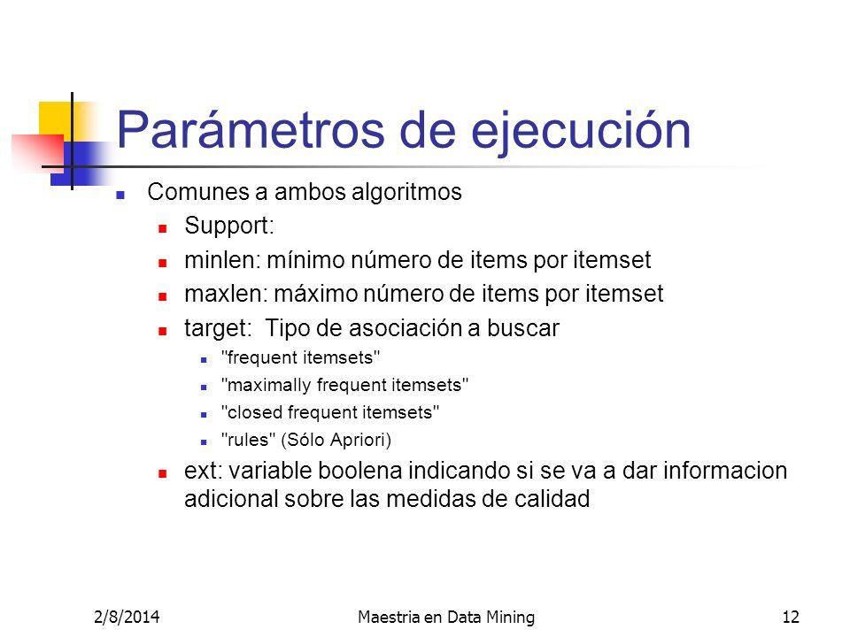 Parámetros de ejecución