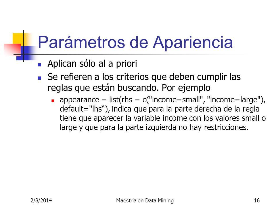 Parámetros de Apariencia