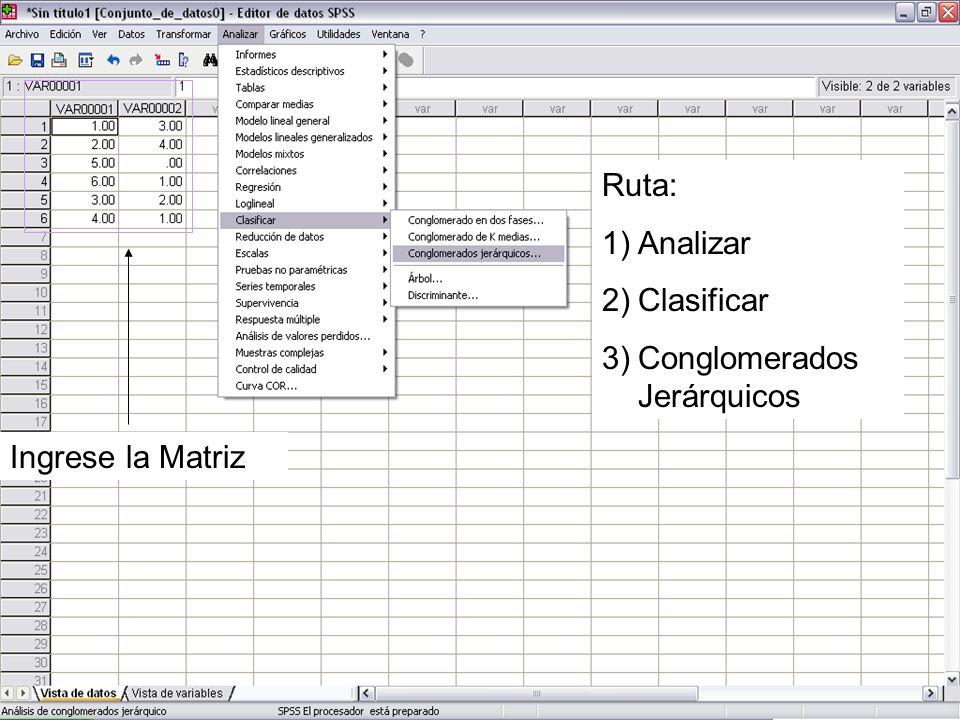 Ruta: Analizar Clasificar Conglomerados Jerárquicos Ingrese la Matriz