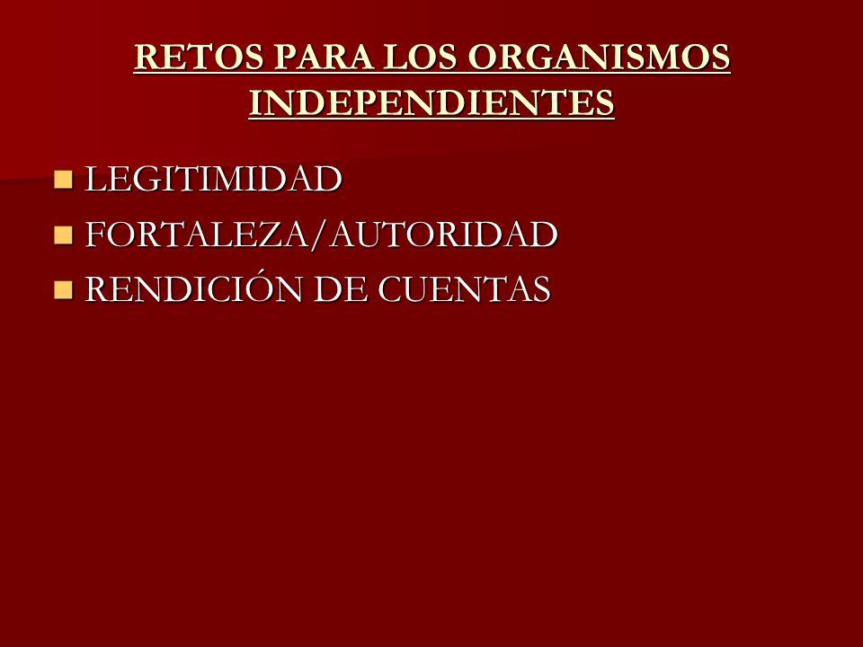 RETOS PARA LOS ORGANISMOS INDEPENDIENTES